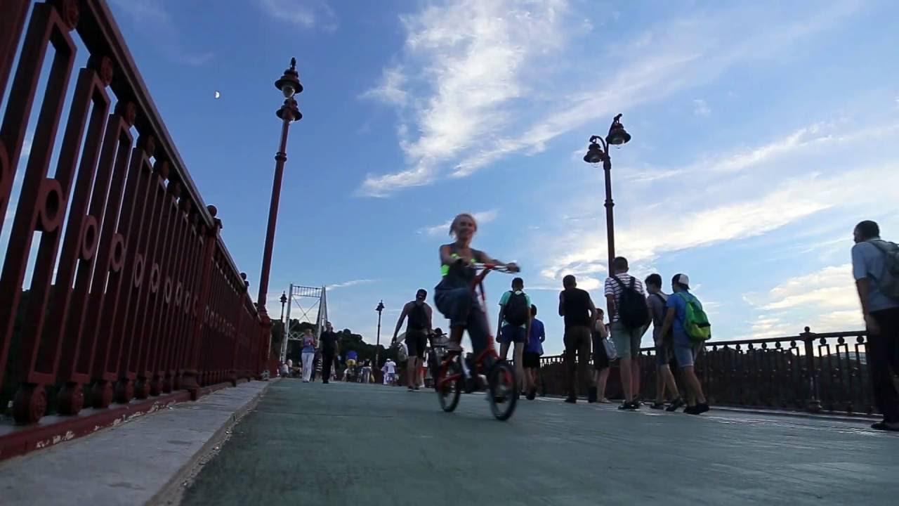 Складной велосипед и велодорожка в Киеве / Folding bike and bike path in Kiev