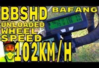 Bafang BBSHD unloaded wheel speed test = 102km/h • 1000w mid-drive Electric Bike BBS02 8fun motor