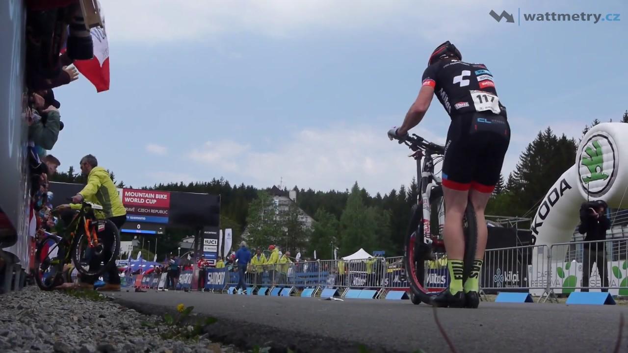 Big crash after the start in the bike race. 2017 UCI Mountain Bike World Cup Nove Mesto Men's Elite
