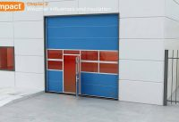 Compact folding door protects against weather influences
