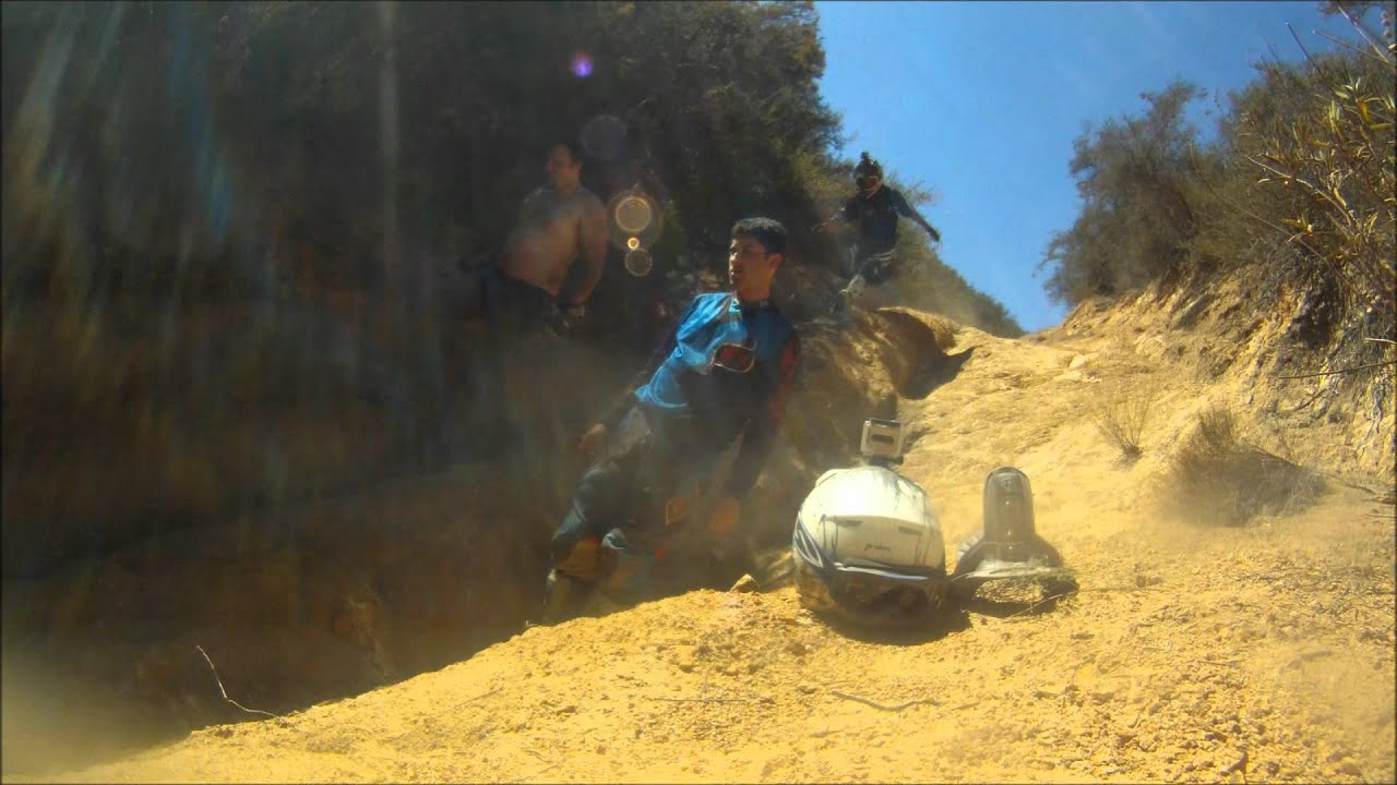 Electric dirt bike riding on extremely steep technical terrain on 2012 Zero MX's