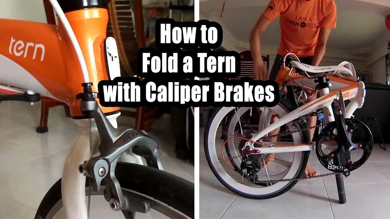 How to Fold a Tern Folding Bike with Caliper Brakes
