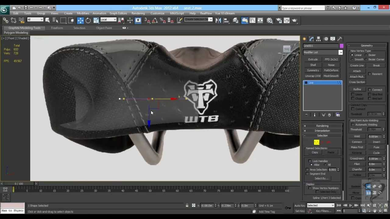 Mountain Bike Seat Modeling 3ds max