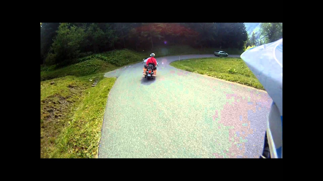 Overtaking a Harley Davidson on a Downhill Mountain Bike