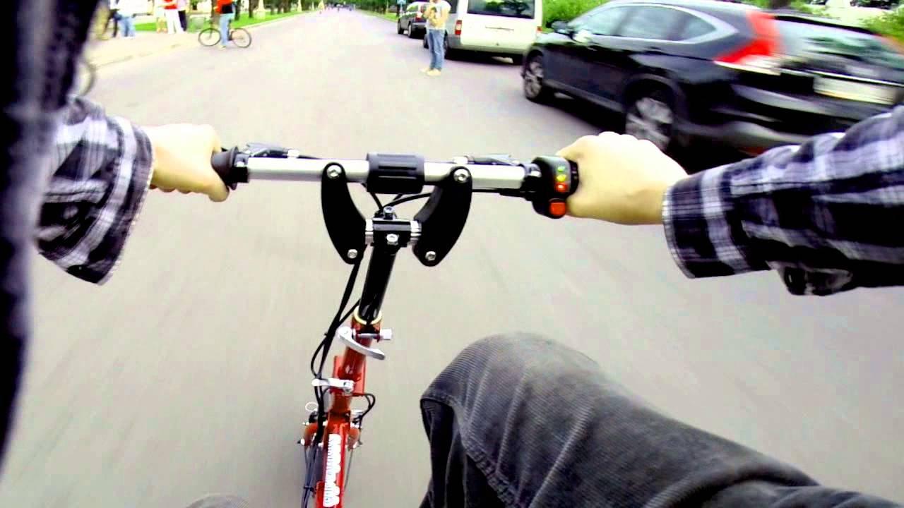 Russian Foldable Electric Bike Testdrive [Hackspace Steel Opening]