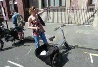 Testing Biquattro electric bike-trike, in London, 2009