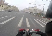 electric bike. hot in April 2015 in Moscow.