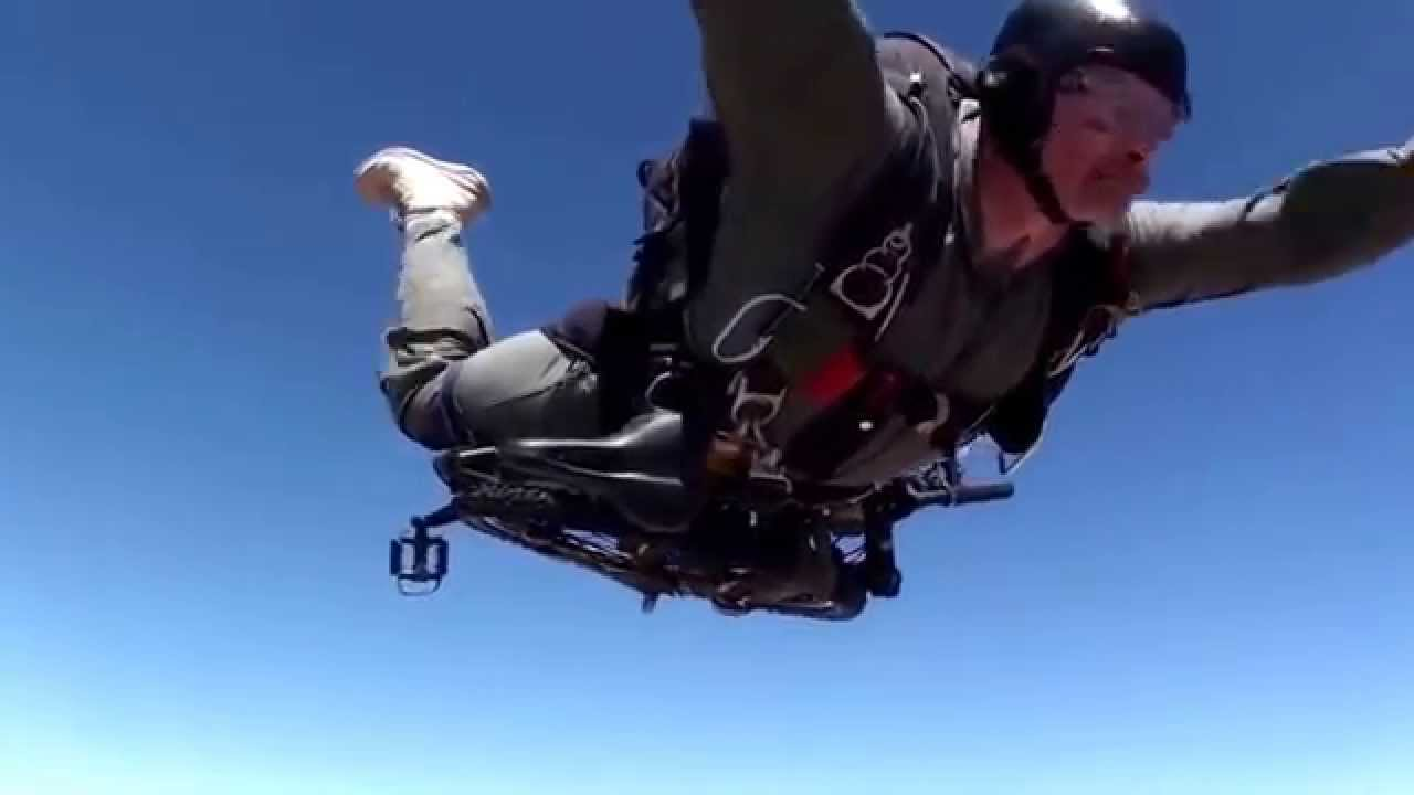 paratrooper jump with a folding bike