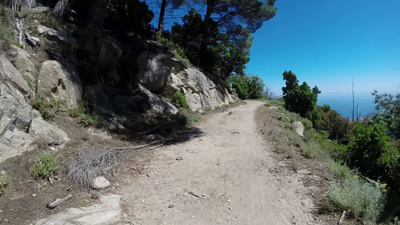 Mountain bike su Sentiero AF100 sopra Marciana, isola d'Elba.