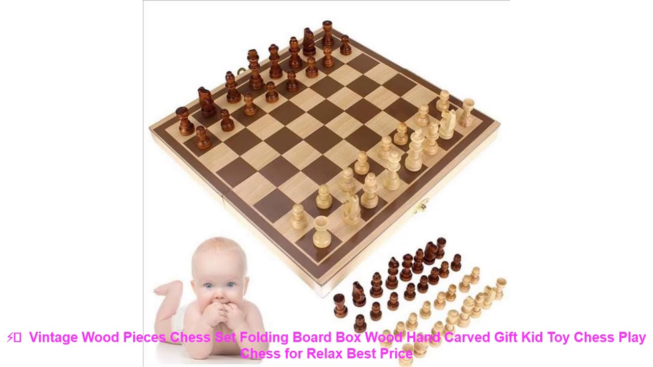 ⚡️  Vintage Wood Pieces Chess Set Folding Board Box Wood Hand Carved G