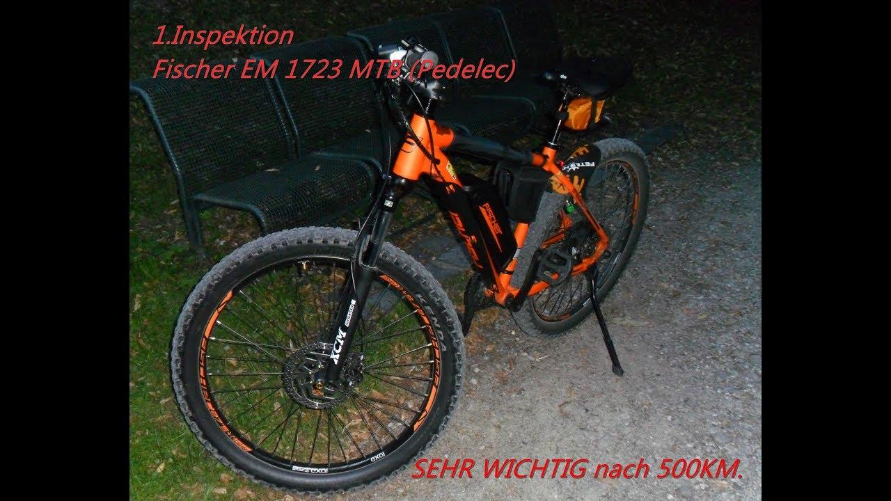 Fischer E bike EM 1723 bei 500 km Tretlager Nachziehn(Ober- Wichtig)