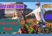 Fun at the park miniature train and BMX