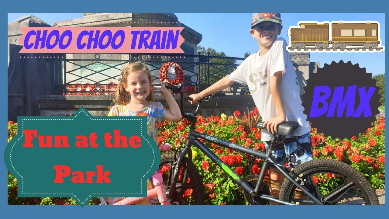 Fun at the park miniature train and BMX