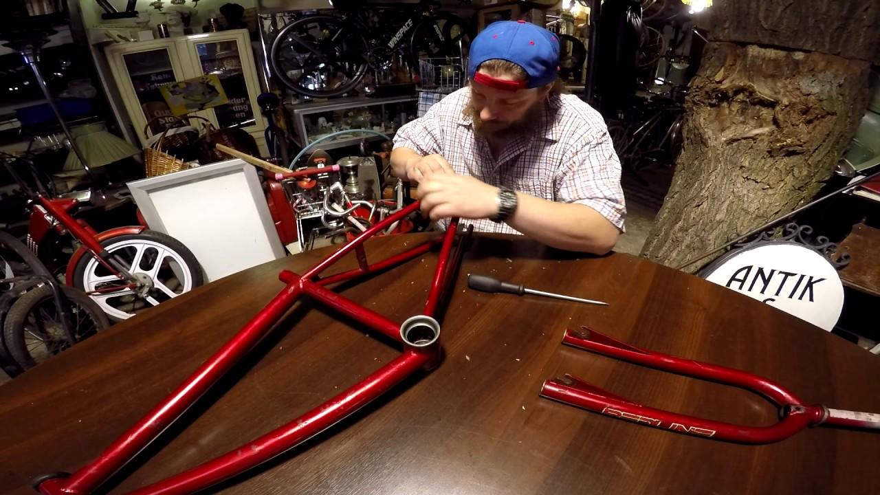 1982 er BMX Redline Rahmen verrostete Ausfallenden werden verschönert