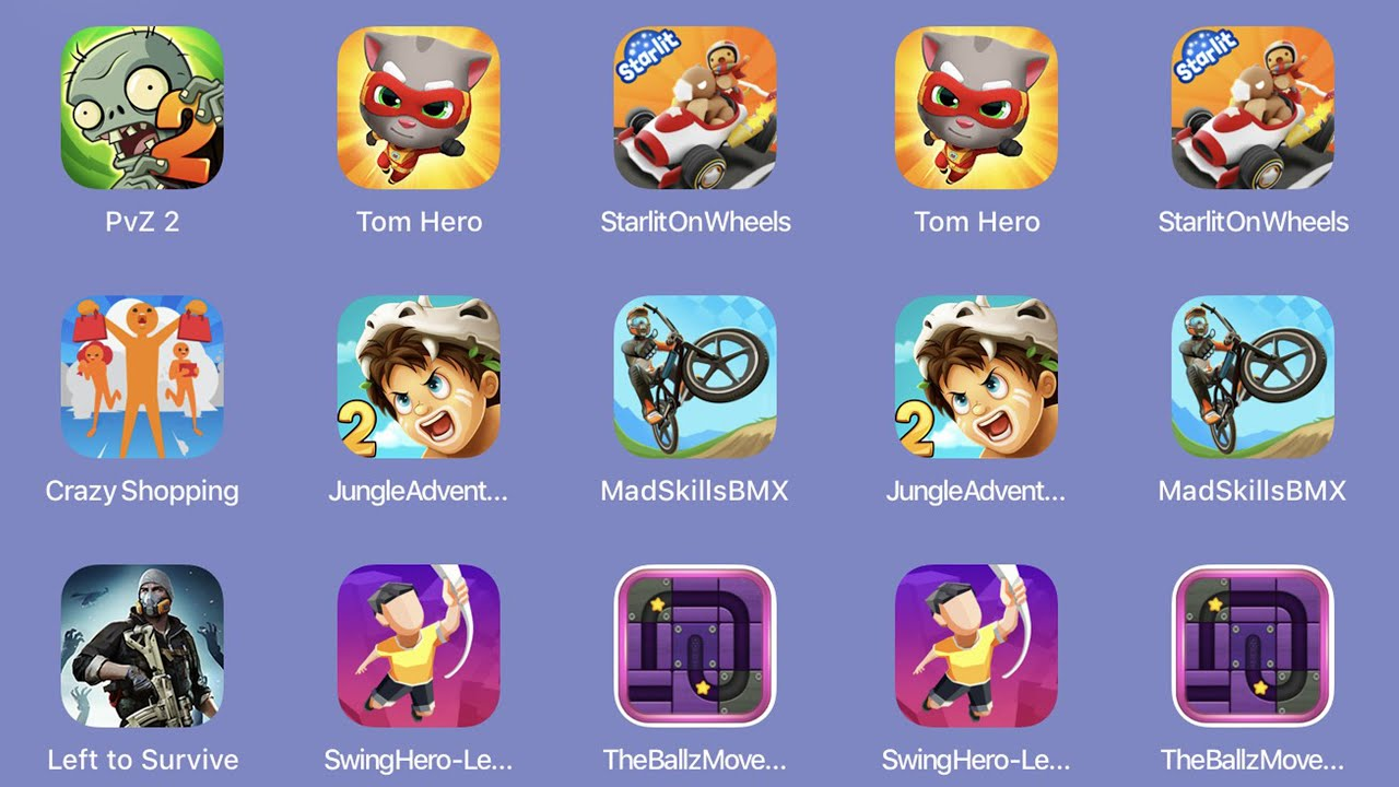 PvZ2,TomHero,StaelitOnWheels,CrazyShopping,JungleAdventure2,MadSkillsBMX,LefttoSurvive...