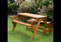 folding picnic table to bench seat. picnic table converts to bench.