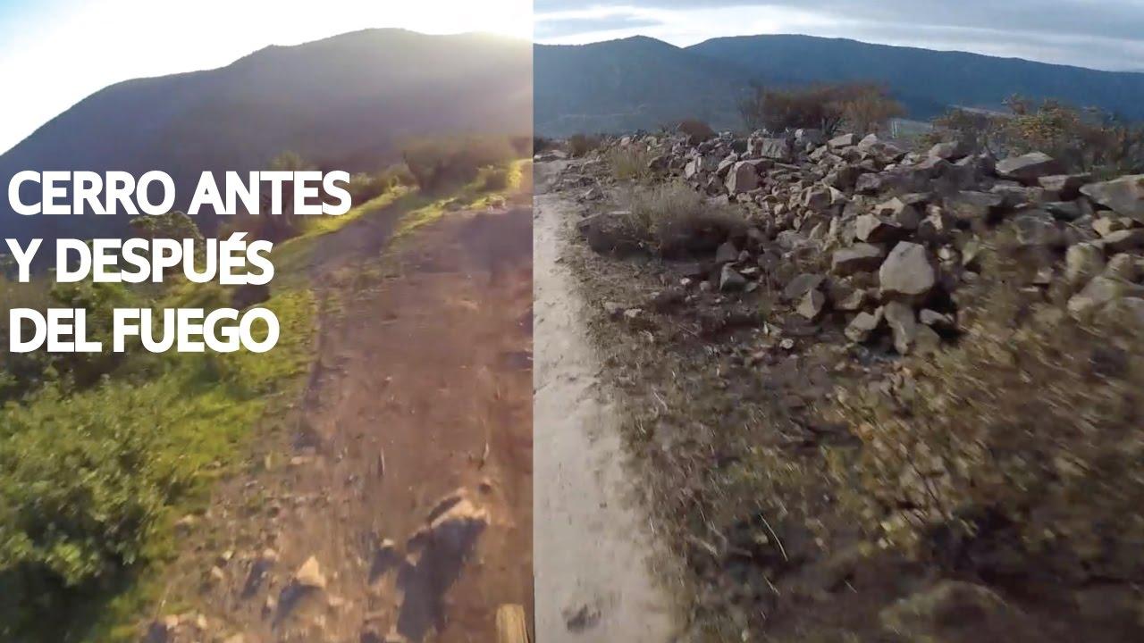Haciendo Mountain Bike en un Cerro Antes y Después del Fuego! Incendio en Las Viñas!