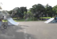 Riding BMX in Potternewton Skatepark, Leeds, UK