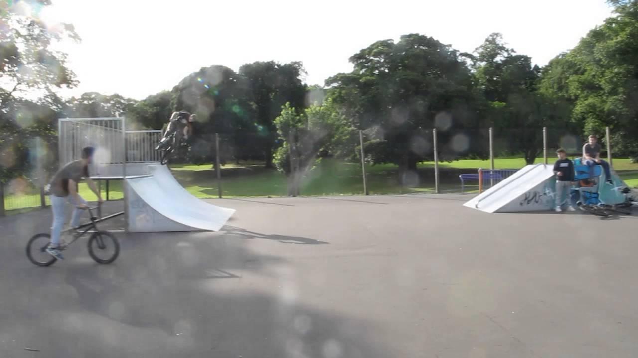 Riding BMX in Potternewton Skatepark, Leeds, UK