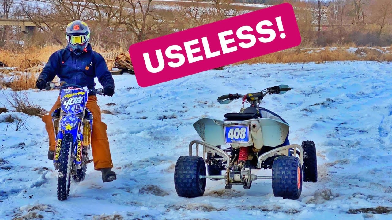 ATV Vs Dirt BIKE WINTER Ride!