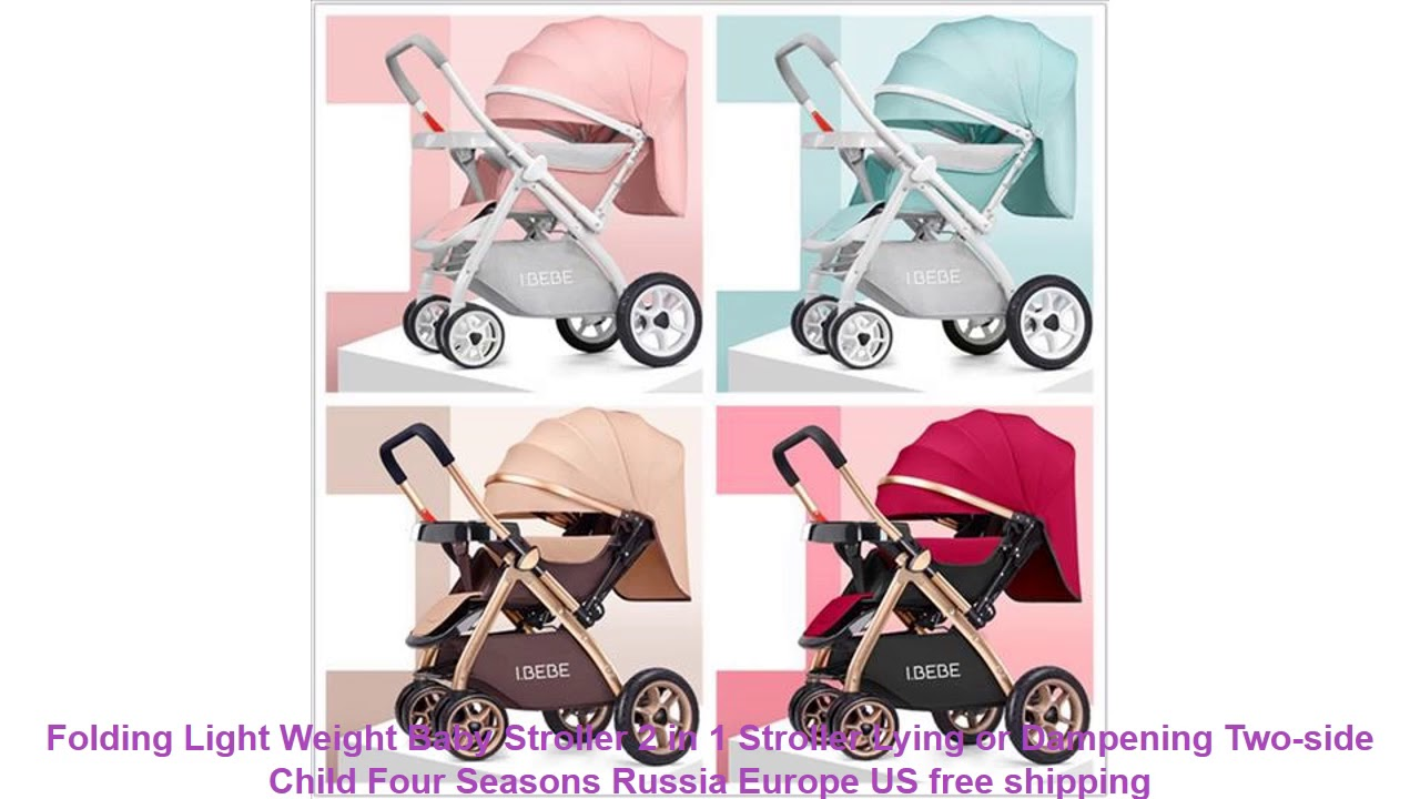 Folding Light Weight Baby Stroller 2 in 1 Stroller Lying or Dampening Two-side Child Four Seasons R