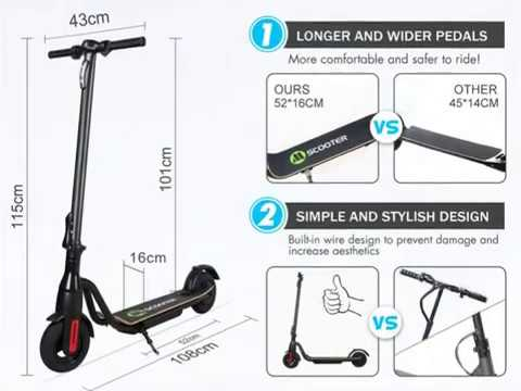 MEGAWHEELS S10 Electric Scooter, 25KM Long Range Battery, Up to 15 5 MPH, 8 inch Tires, Ultra Lightw