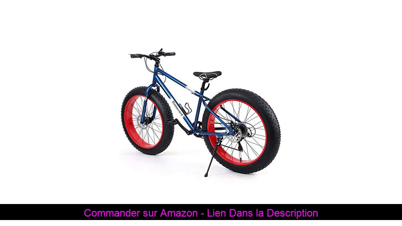 "☀️ Ridgeyard Vélo Tout Terrain 26"" 7 Vitesse Fat Bike Mountain Bike Cruiser Bicycle Beach Ride Trav"