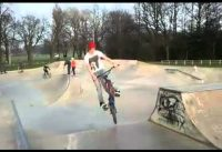 Hop whip out of a flatbank bmx