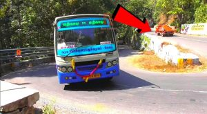 Three Private Lorry's and TNSTC Bus and Bike Turning Hairpin Bend in Kolli Hills Road Namakkal