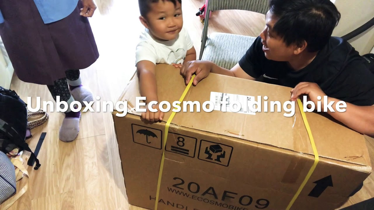 "Unboxing of Ecosmo folding bike with 20"" wheel."