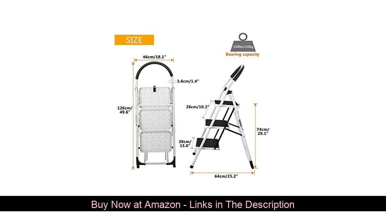 ⚡️ 3 Step Stool, Gimify Folding Step Ladder Steel Stepladders (Upgraded Version) Non-Slip Sturdy St