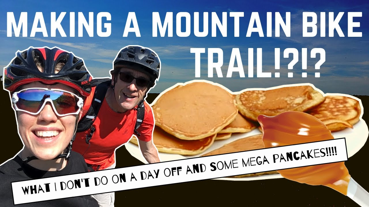 Riding a homemade trail on the mountain bike and awesome pancakes!!