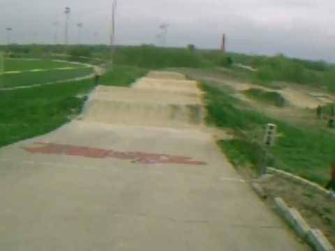 USA  bmx racing at THE HILL track  4/14/12  my main moto   onboard footage