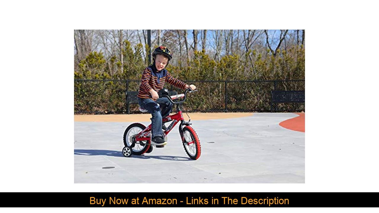 "✨ ""Dynacraft Hot Wheels Boys BMX Street/Dirt Bike with Hand Brake 14"", Red/White/Black """