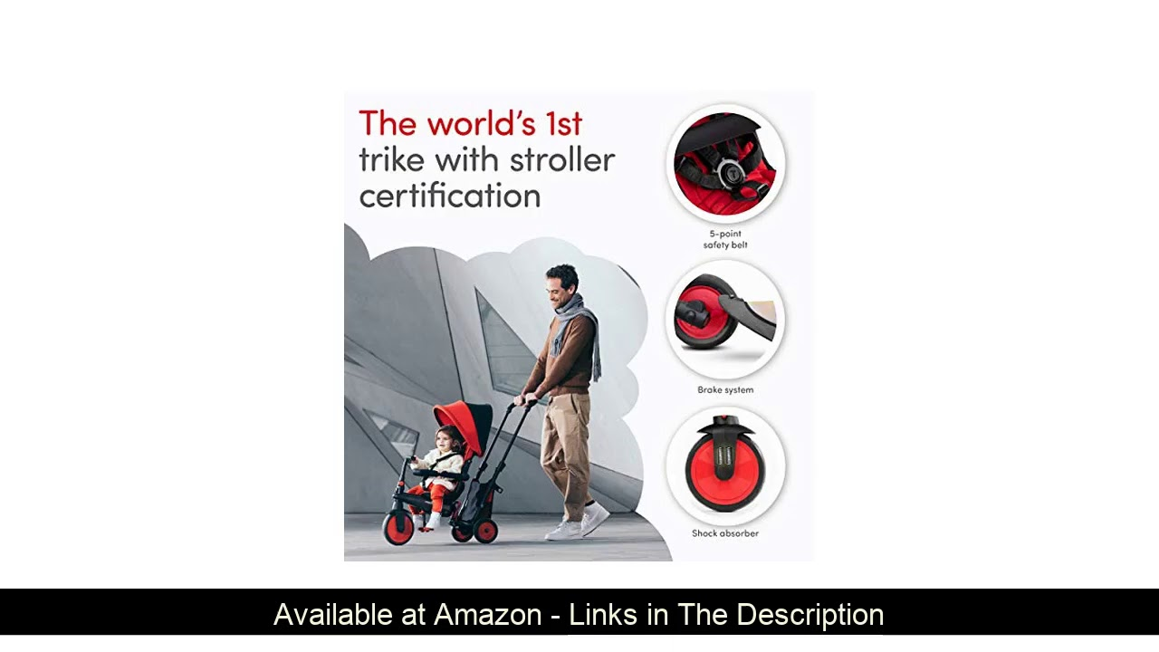 ❎ smarTrike STR3 Folding Toddler Tricycle with Stroller Certification for 1,2,3 Year Old - 6 in 1 M