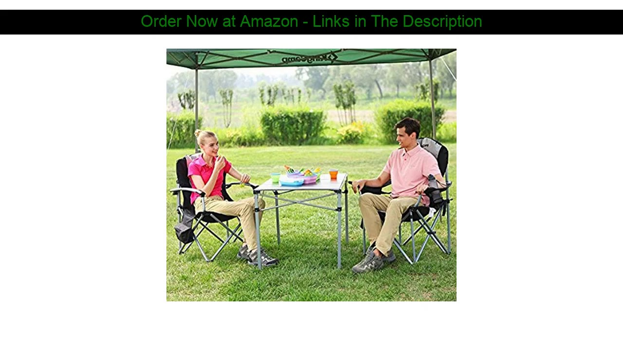 ✅ KingCamp Camping Chair with Lumbar Back Support, Padded Folding Chair with Cooler, Armrest, Cup H
