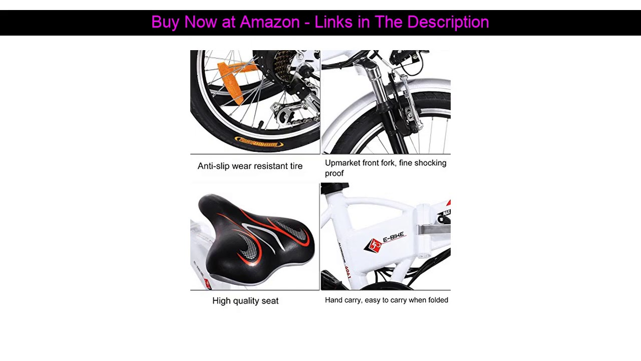 """☄️ 20"""" Folding Electric Bike with Removable Large Capacity Lithium-Ion Battery (36V 250W), Electric"""