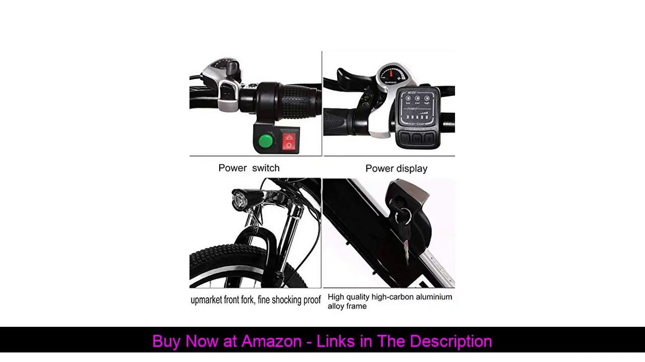 """✨ 26"""" Electric Bike Adult Electric Mountain Bike, 250W Powerful Motor Electric Bicycle 20MPH with R"""