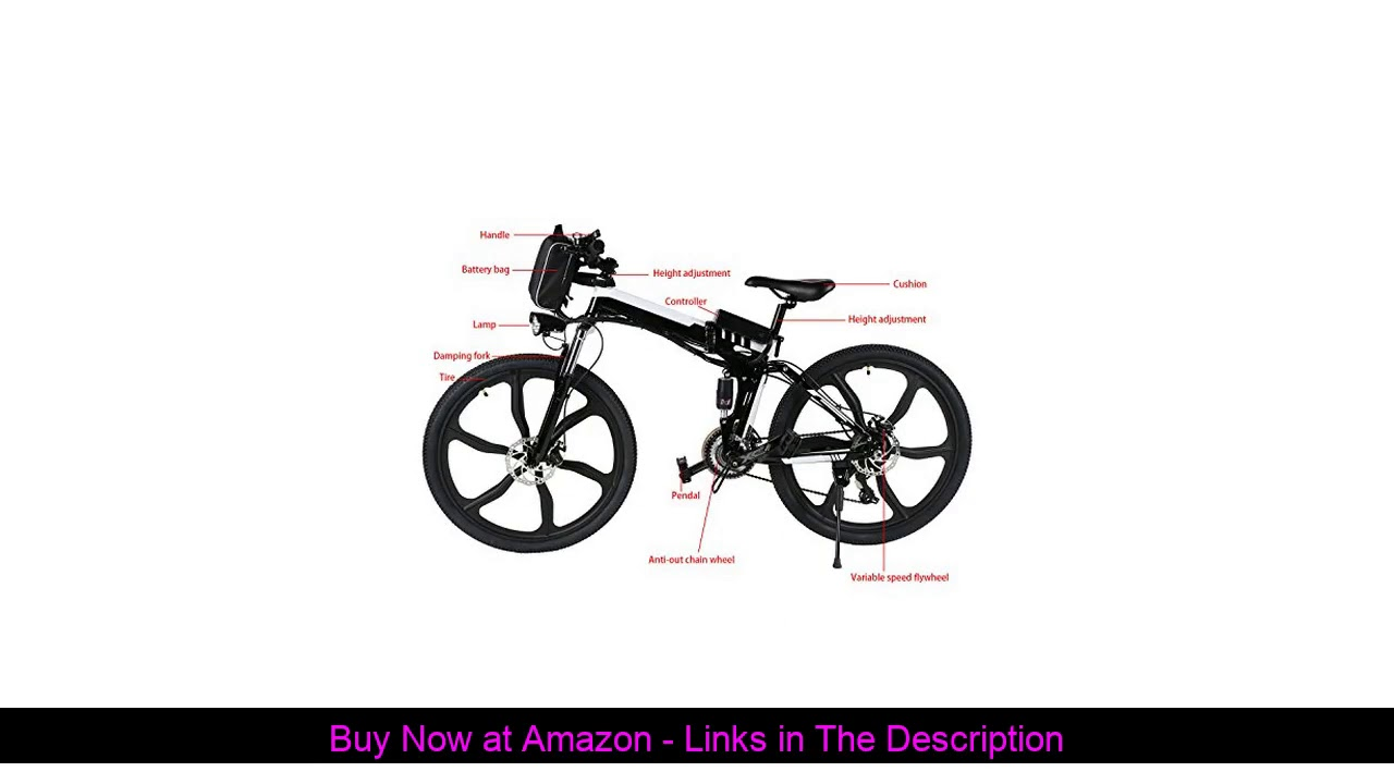 "✨ 26"" Folding Electric Bike with Lithium-Ion Battery(36V 250W), 21 Speed Gear and Three Working Mod"