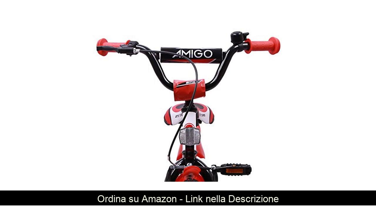 ▶️ AMIGO - BMX Turbo - Bicicletta Bambini - 12'' (per 3-4 Anni) - con stabilizzanti - Bianco/Rosso