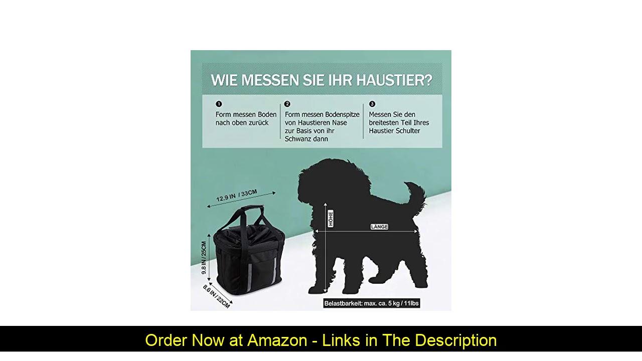 ❄️ ANZOME Dogs Carrier Bike Basket, Handlebar Basket Folding Front Removable wiht Adjust Dog Seatbe