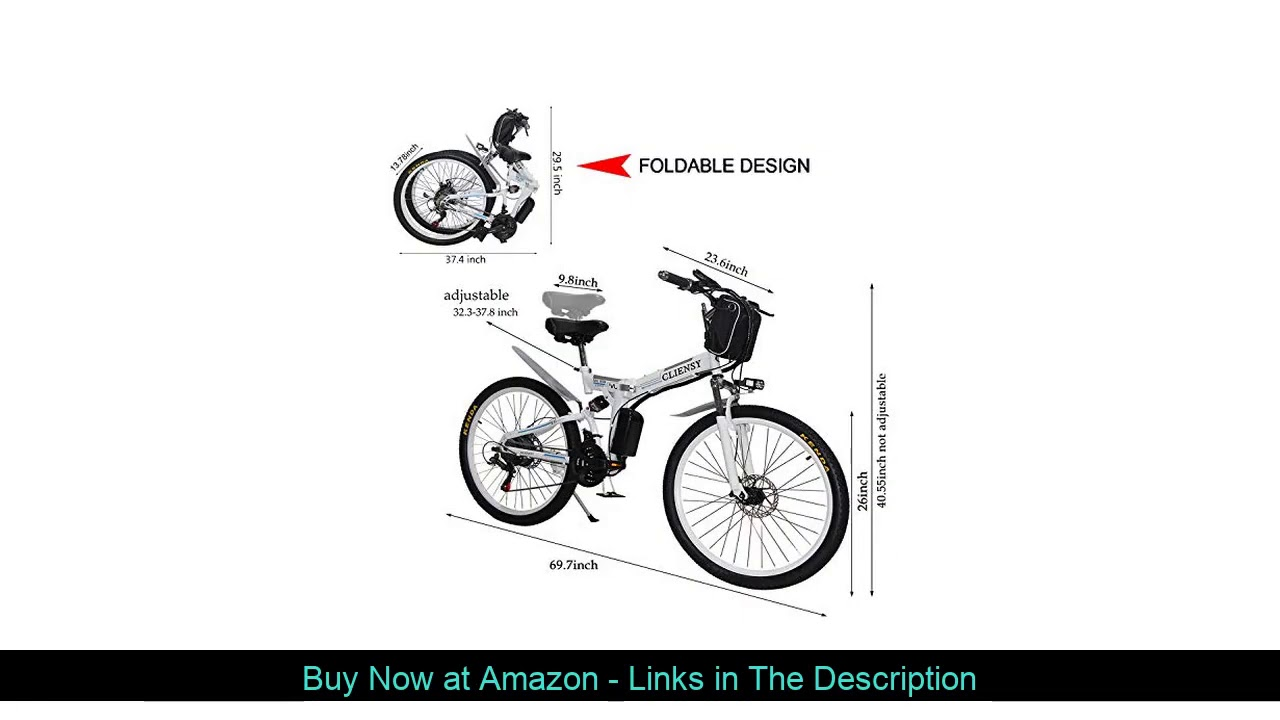 ❎ CLIENSY 26 Inch Electric Bike, 350W Folding Ebike with Removable 36V 8AH Lithium Battery for Adul