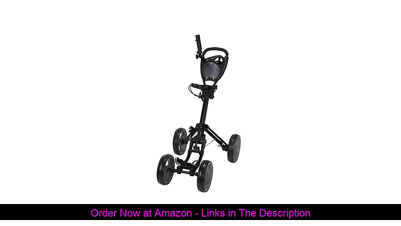 ☘️ Caddymatic Golf Quad 4-Wheel Folding Golf Pull/Push Cart Black