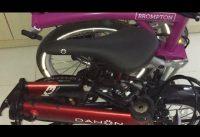 Comparing Dahon 19 K3 Red Black Folding Bike with Brompton Berry Crush/Grey M2L