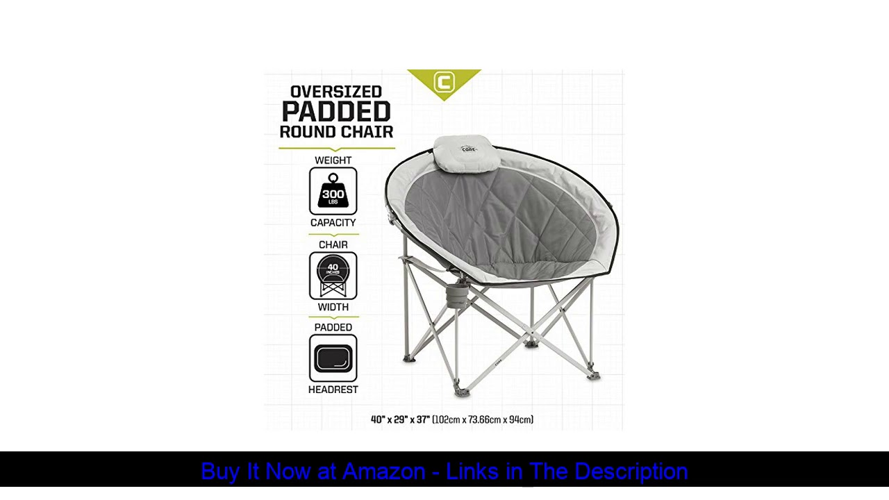 ☘️ Core 40025 Equipment Folding Oversized Padded Moon Round Saucer Chair with Carry Bag, Gray