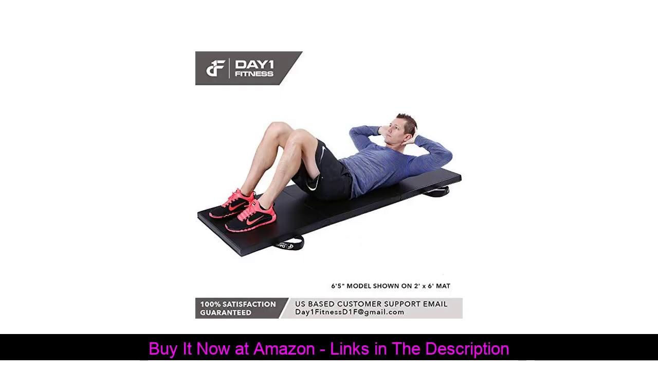☘️ Day 1 Fitness Folding Gymnastics Gym Mat – 4'x6' Black - High-Density Foam, Exercise, Yoga, Gymn
