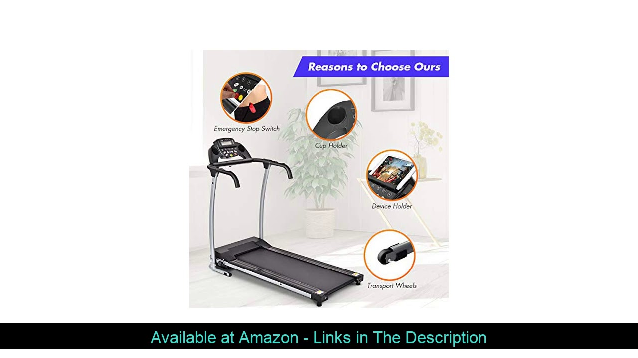☄️ GYMAX Folding Treadmill, Electric Motorized Walking Running Machine with Device Holder for Cardi