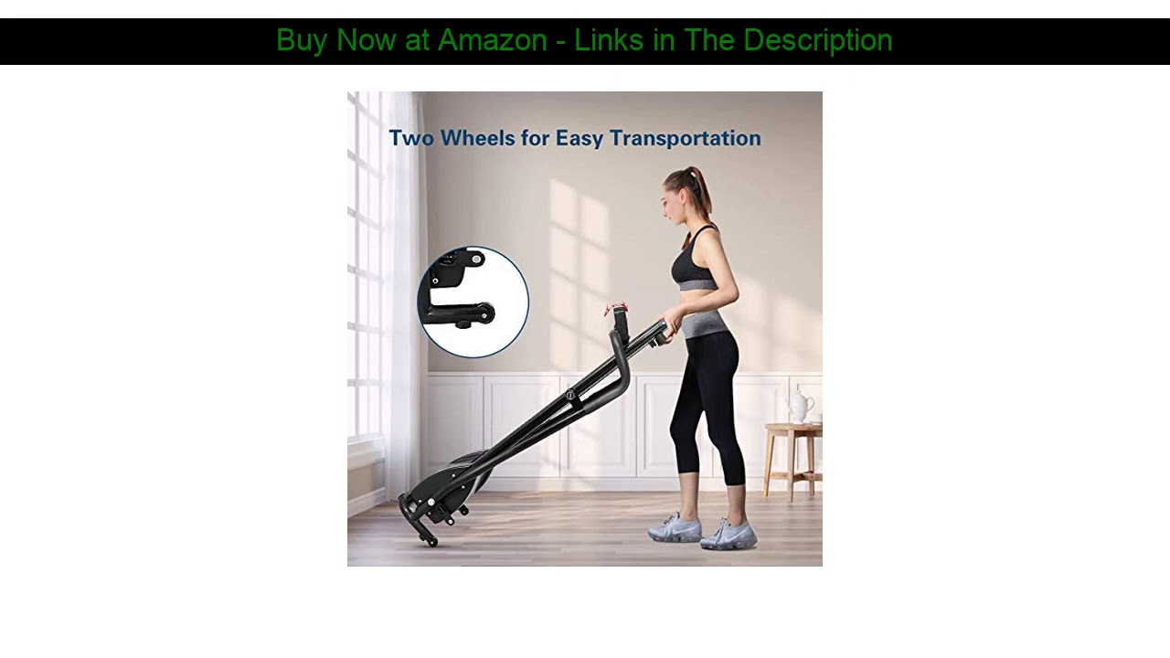 ▶️ GYMAX Folding Treadmill, Portable Low Noise Jogging Electric Walking Running Machine Exercise Tr