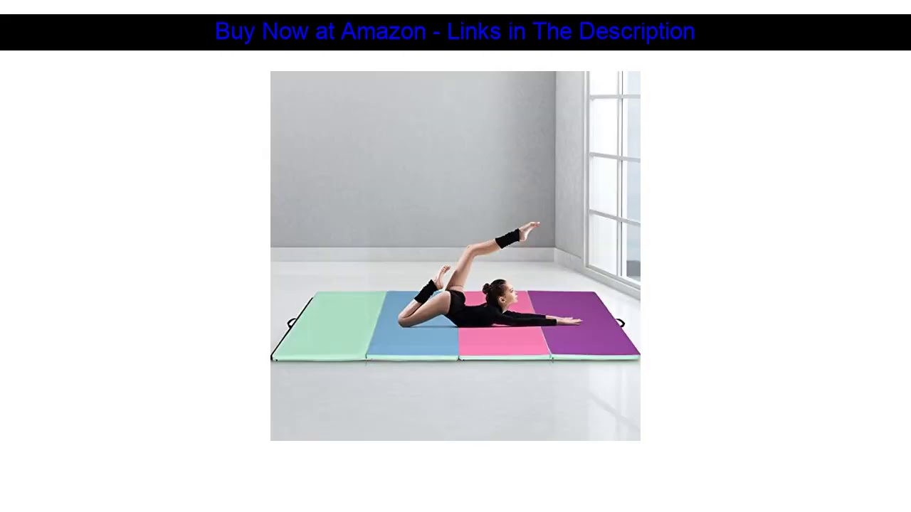 ☘️ Giantex 4'x10'x2 Gymnastics Mat Folding Panel Thick Gym Fitness Exercise (Green/Blue/Pink/Purple