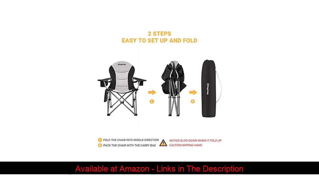 ☑️ KingCamp Camping Chair with Lumbar Back Support, Padded Folding Chair with Cooler, Armrest, Cup